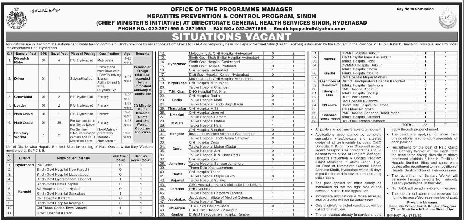 150+ Jobs in Hepatitis Prevention & Control Program Sindh 11 July 2019