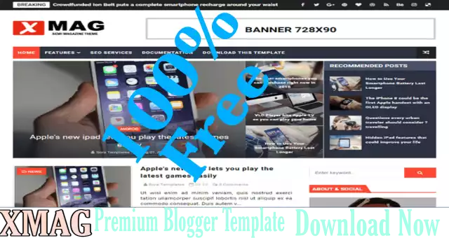 Xmag Blogger Template  Premium Free