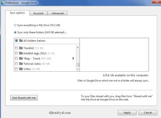 Cara sync folder lagu di Google Drive ke komputer