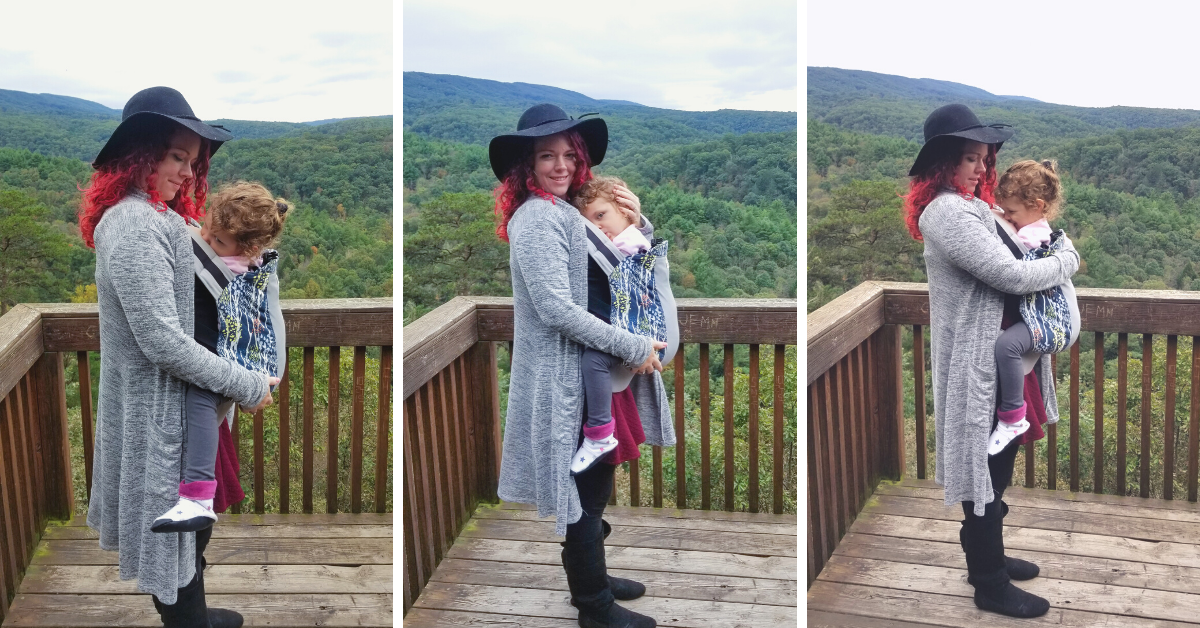 Three photos of a red-haired woman babywearing her toddler on the front of her, standing on a balcony overlooking mountains.