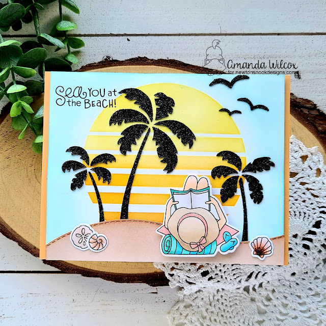 Reading on the Beach Card by Amanda Wilcox | Summer Moments Stamp Set and Sun & Palms Stencil Set by Newton's Nook Designs #newtonsnook