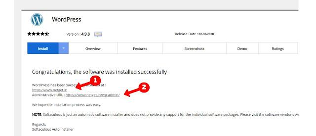 Congratulations wordpress installed successfully