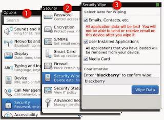 cara mudah wipe data blackberry semua tipe bb