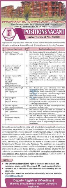 shaheed-benazir-bhutto-women-university-sbbwu-jobs-2020-application-form