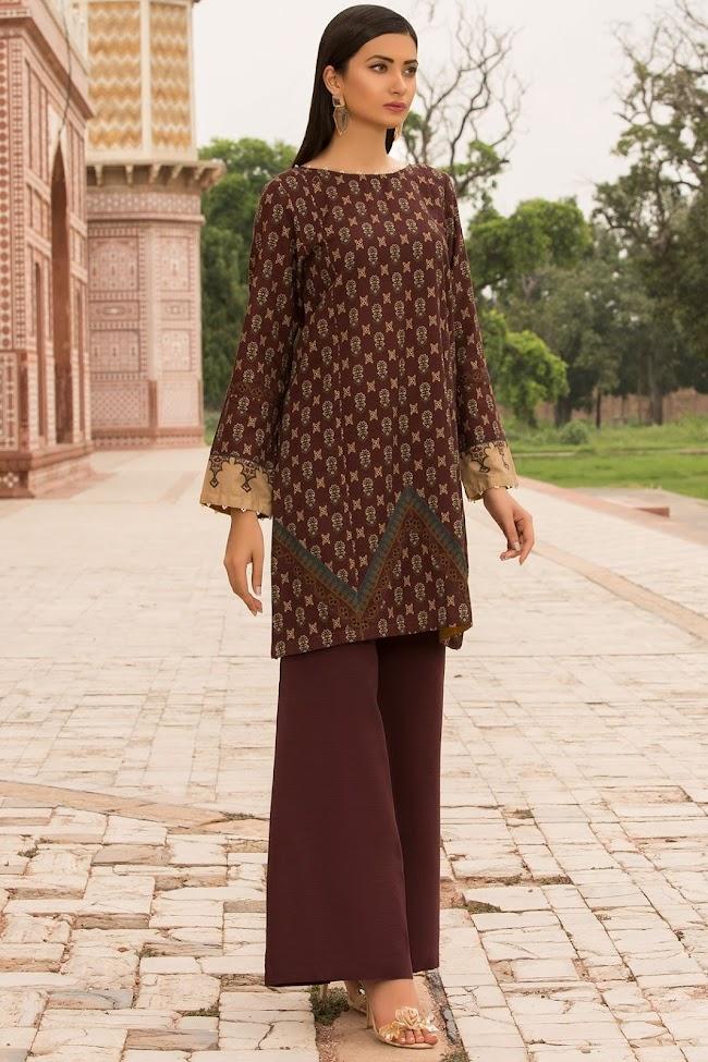 Warda Brown printed shirt Khaddar