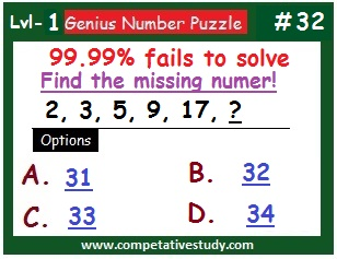 Math Puzzle: Find the missing number: 2, 3, 5, 9, 17, ?