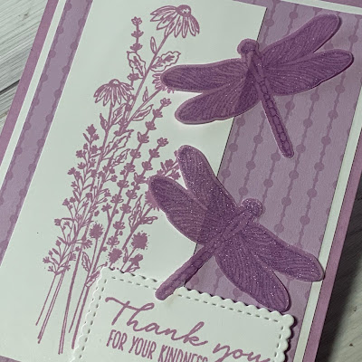 Close-up of Dragonflies greeting card using Stampin' Up! Dragonfly Garden Stamp Set