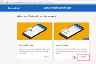 Cara Membuat Iklan Matched Content Google Adsense