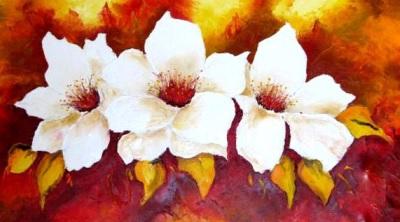 Foto de flores blancas de una hermosa pintura