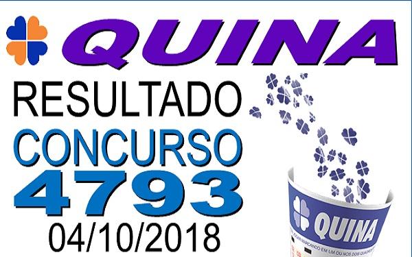 Resultado da Quina concurso 4793 de 04/10/2018 (Imagem: Informe Notícias)
