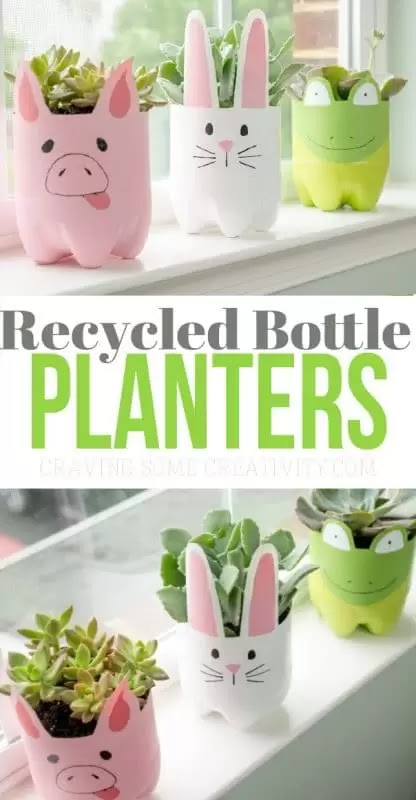 How to recycle an empty plastic bottle into a cute flower pot