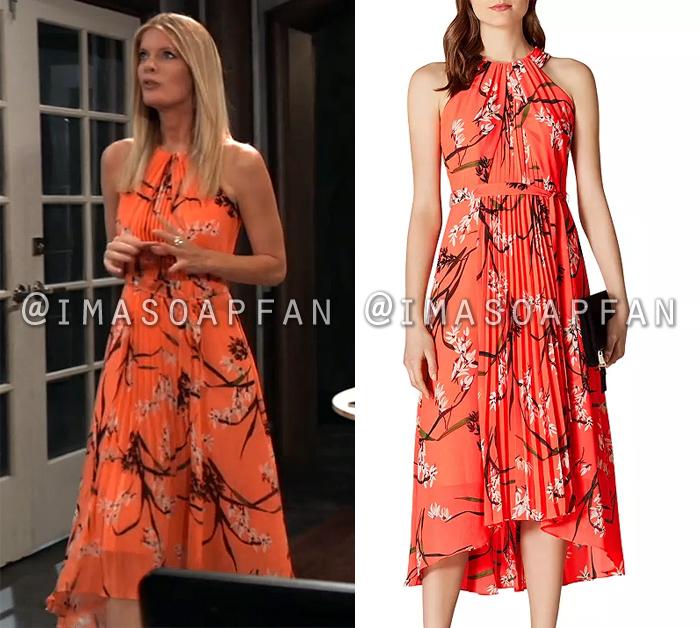 Nina Reeves, Michelle Stafford, Pleated Orange Floral Dress, General Hospital, GH