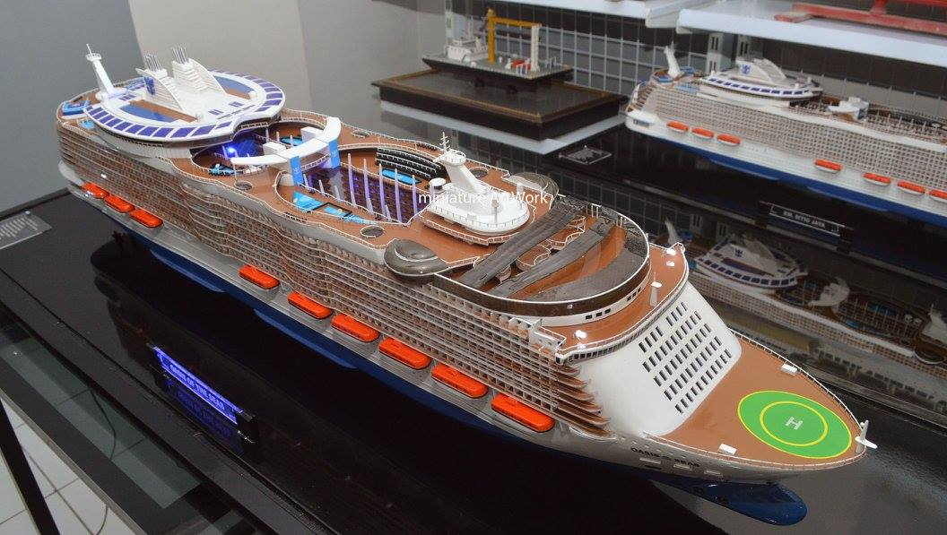 miniatur kapal pesiar oasis of the seas royal caribbean international cruises ship rumpun artwork planet kapal indonesia