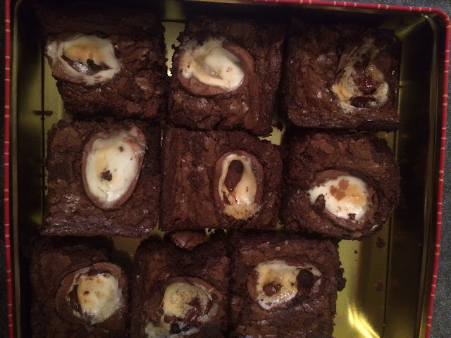 Finished Creme Egg Brownies in their tin