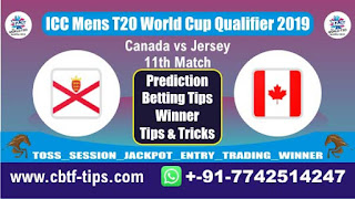 Who will win Today, ICC Mens T20 World Cup Qualifier 2019, 11th T20 Match JER vs CAN