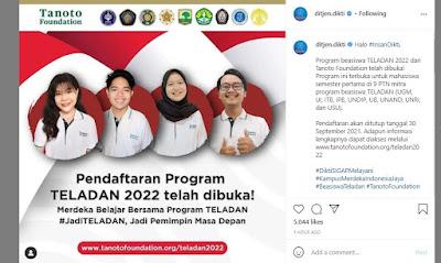 link daftar program Beasiswa Teladan 2022 www.tanotofoundation.orgteladan2022 Tonoto Foundation cek syarat dan jadwal pendaftarannya.
