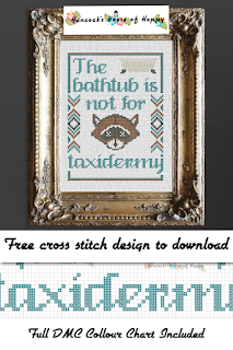 free bathroom cross stitch pattern, taxidermy cross stitch, snarky cross stitch