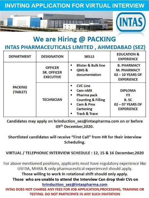 Intas Pharma | Virtual Interview for Production/QC on 12, 15 & 16th Dec 2020 | Apply before 9th Dec 2020
