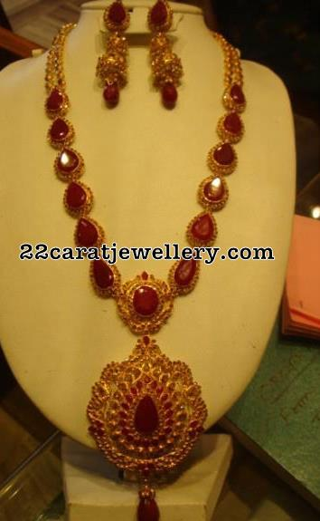 Dark Ruby Chakri Diamonds Long Set Jewellery Designs