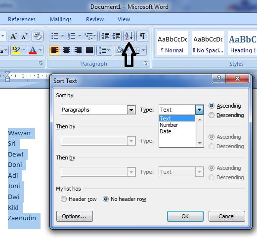 Menggunakan fitur Sort untuk mengurutkan nama berdasarkan huruf awal microsoft word