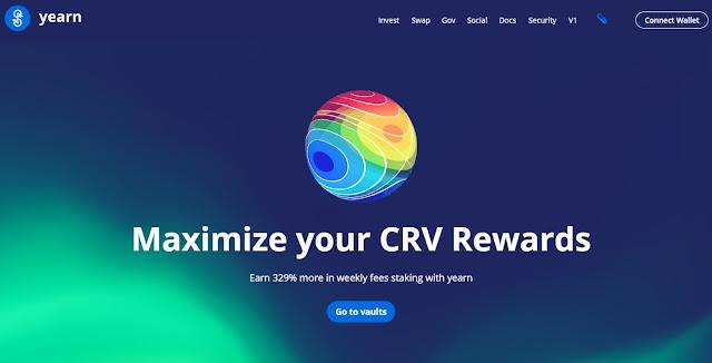 Screenshot Website Yearn.finance (YFI)