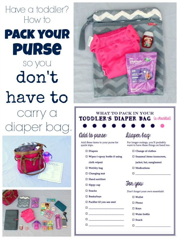 Have a toddler? How to pack your purse so you don't have to carry a diaper bag. Includes pictures of everything I include for my toddler in my purse, as well as a free printable checklist so you won't forget anything.