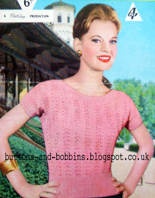 The Vintage Pattern Files: Free 1950's Knitting Pattern - Feather and Fan Summer Sweater