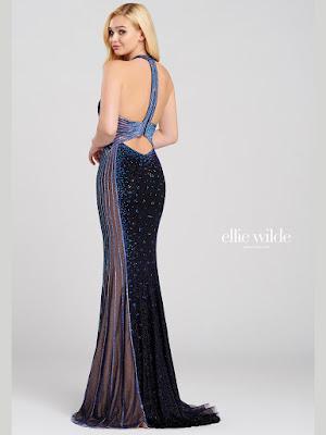 Ellie Wilde Halter Navy Blue Color Prom dress back side