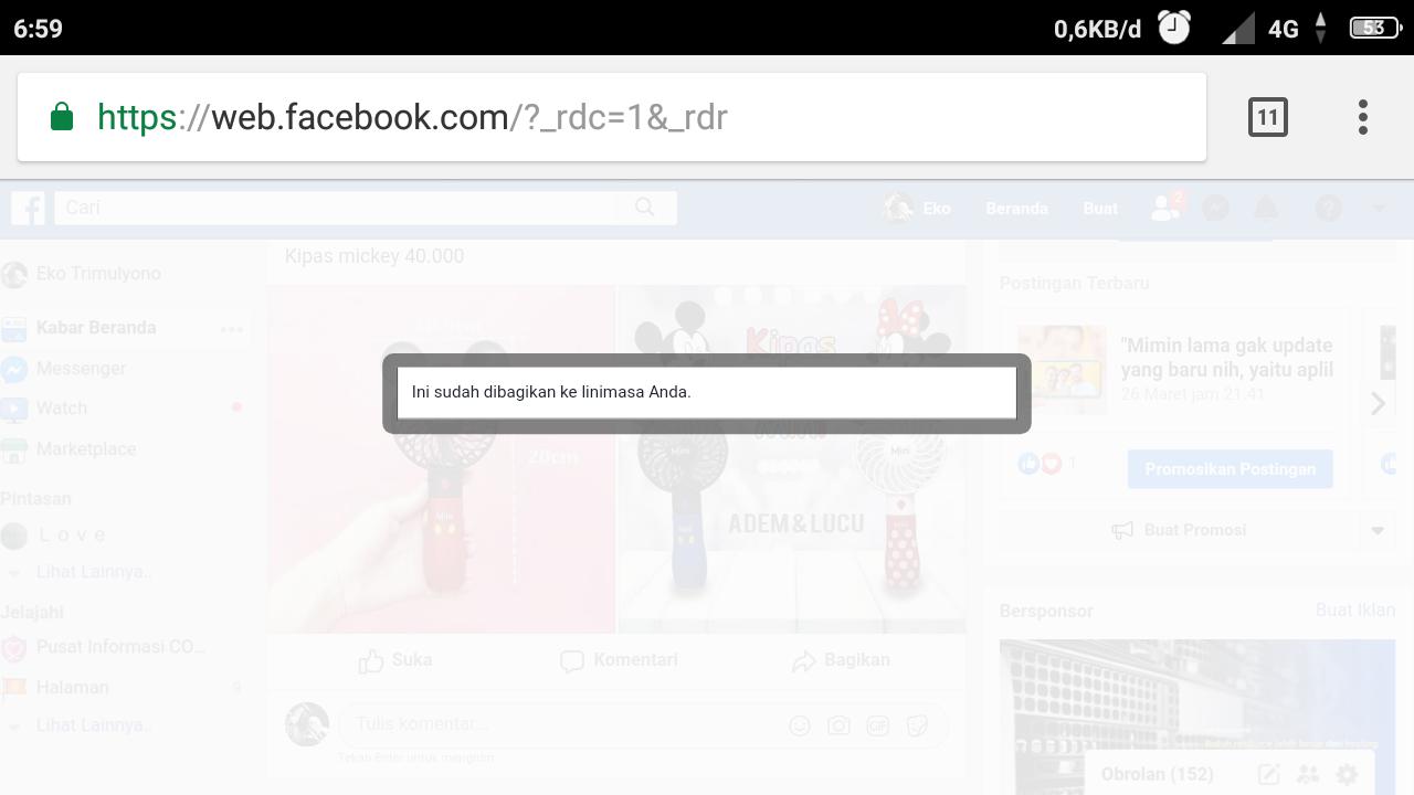 Cara share postingan facebook