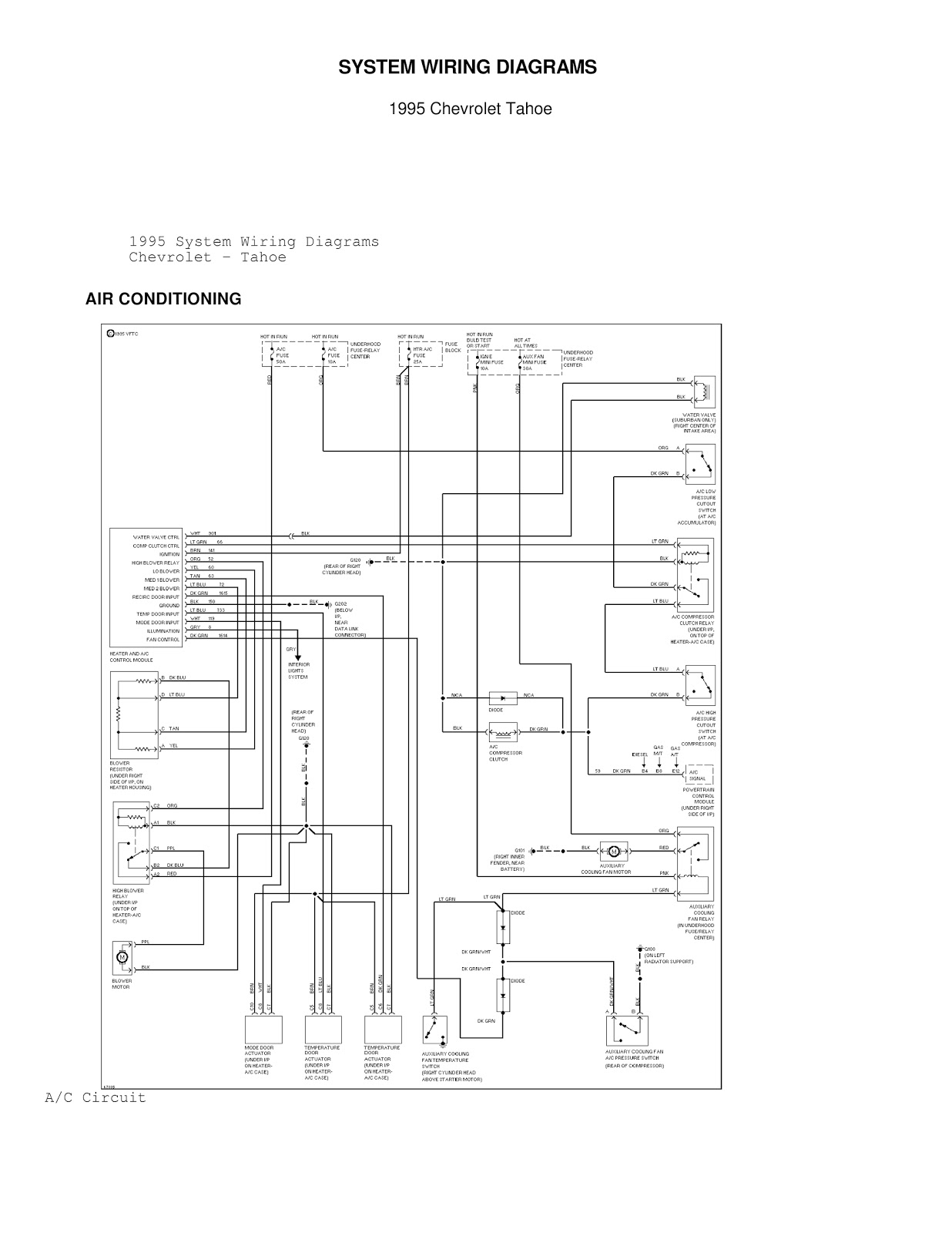 Chevrolet Tahoe System Wiring Diagrams Air Conditioning Circuits