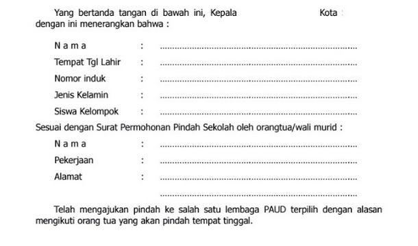 Surat Pindah Sekolah Paud Tk Kober Administrasi Paud