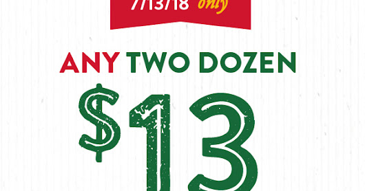 Join Krispy Kreme email to receive Any Two Dozen for $13 on 7-13