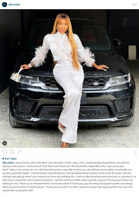 Actress Idia Aisien gets a 2021 Autobiography Range Rover from Family as birthday gift (Photos)