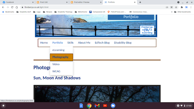 Screenshot of my website, showing a submenu, which has dropped down and the Photography menu item is highlighted in brown and is in focus. Your screen reader would also pick this up if you used my site.