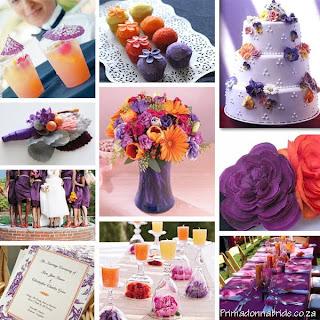 purple, pink and orange wedding colour scheme