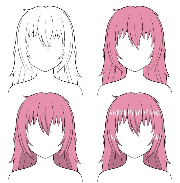 Shading anime rambut panjang berantakan selangkah demi selangkah
