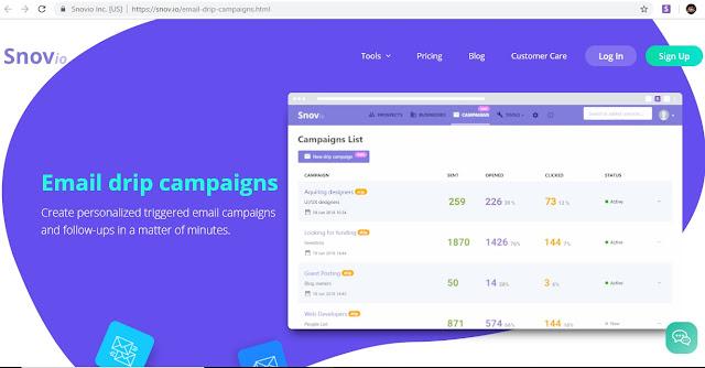 Snovio email drip campaign