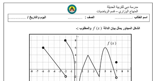 ورقة عمل رياضيات فصل أول صف ثاني عشر