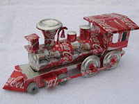 Manualidades con material reciclado - Tren con latas de Coca Cola