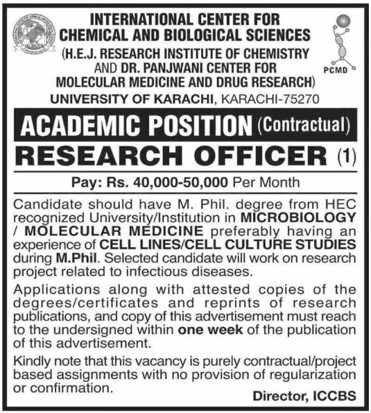 University of Karachi Jobs for Research Officer 2019 Latest