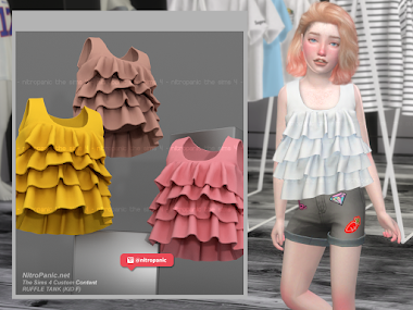 Ruffle Tank Top KID F for The Sims 4