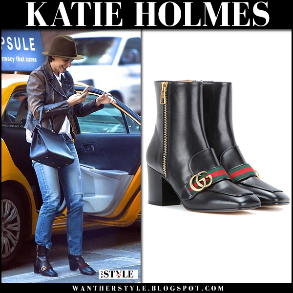 Katie Holme sin leather jacket and black ankle boots gucci peyton street fashion january 25