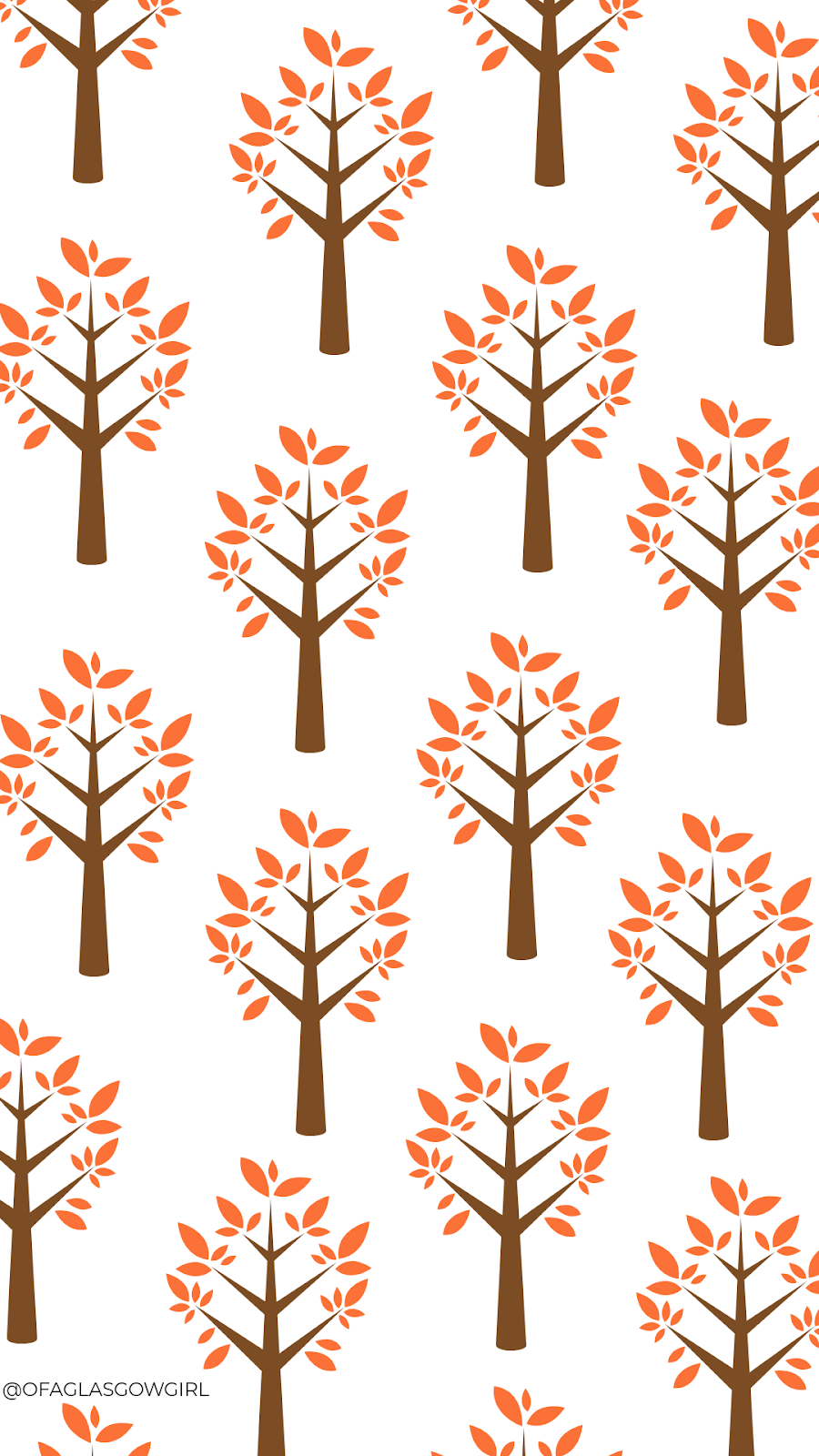 Autumn phone wallpaper or instagram template with a repeated pattern of trees on it.