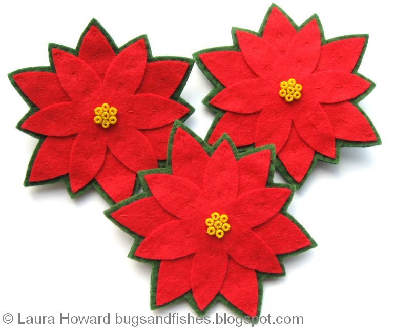 bugs and fishes by lupin how to felt poinsettia brooches