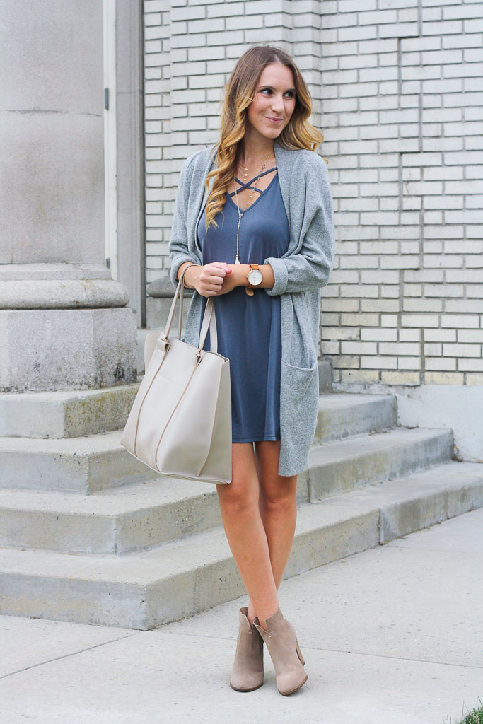 T Shirt Dress And A Cozy Cardi Wiwt Link Up