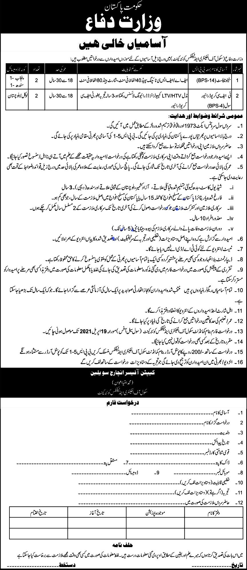 Latest Jobs in Ministry of Defence MOD  Pakistan April 2021