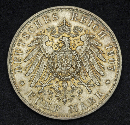German Coins Bavaria 5 Mark Silver Coin Of 1907 King Otto