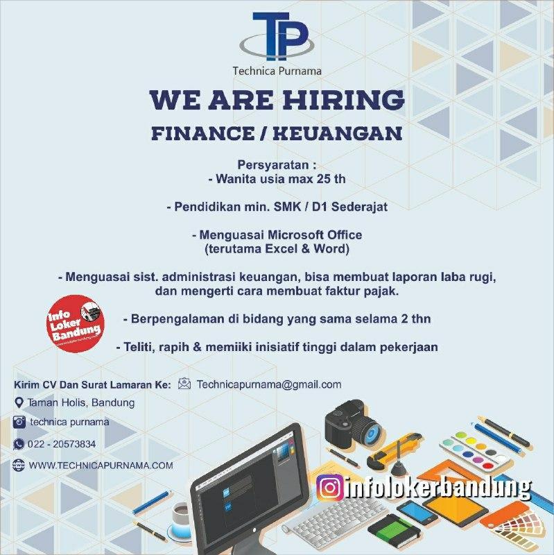 Lowongan Kerja Finance / Keuangan Technica Purnama Bandung April 2020