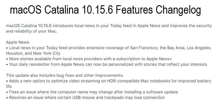 macOS Catalina 10.15.6 Features