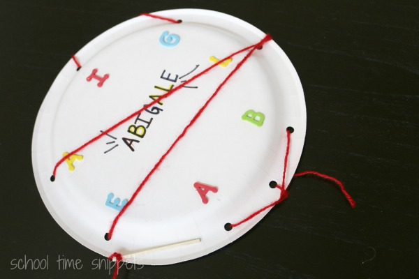 Personalized lacing activity to help your preschooler learn his/her name